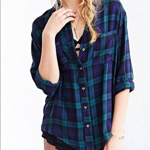 Blue and Green Flannel Button Up